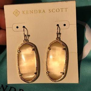 Kendra Scott peach catseye Rosegold Elle earrings
